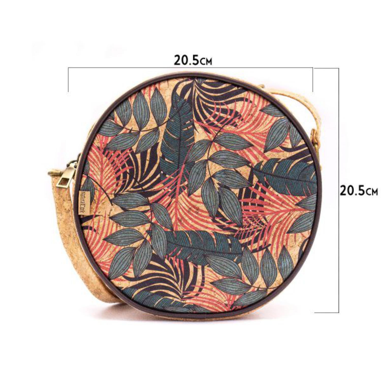 Okrogla torbica iz plute z vzorci