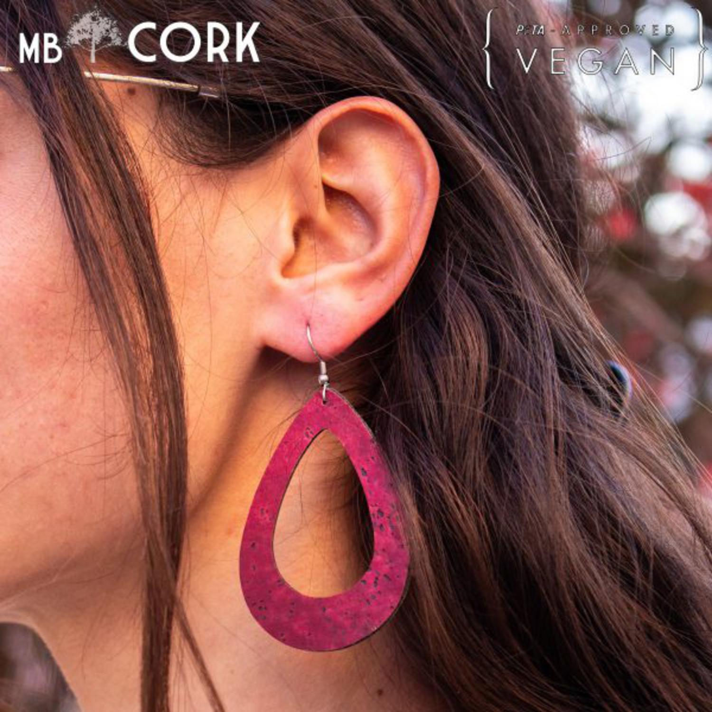 Naravni uhani - Red Cork Hoop